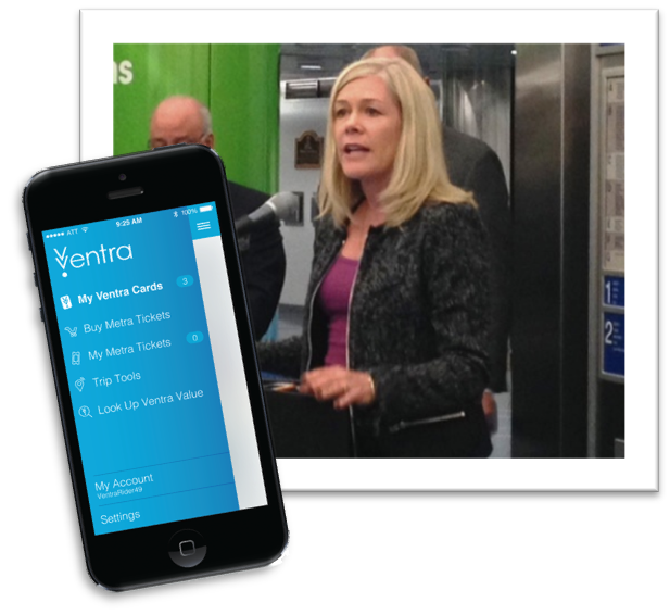 RTA Executive Director Leanne Redden discusses the benefits of the new Ventra app during a press conference held at Millennium station last week. (Picture Inset: Ventra app)